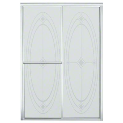 """Deluxe Sliding Shower Door - Height 70"""", Max. Opening 48-7/8"""" - Silver with Ellipse Glass Pattern"""