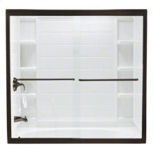 """Finesse™ Frameless Sliding Bath Door - Height 58-1/16"""", Max. Opening 59-5/8"""" - Deep Bronze with Smooth Clear Glass Texture"""