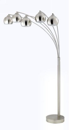 40W x 5 metal arc floor lamp w/metal shades and 3 way pole switch