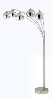 40W x 5 metal arc floor lamp w/metal shades and 3 way pole switch