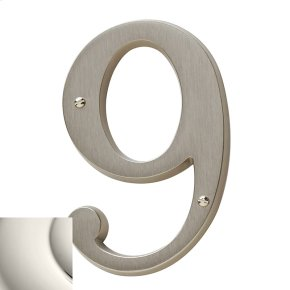 Polished Nickel House Number - 9