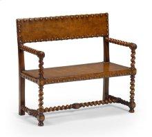 Tudor Style Leather Bench (Walnut)