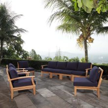 Marina 8 Piece Outdoor Patio Teak Set in Natural Navy