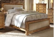 5/0 Queen Upholstered Headboard - Distressed Pine Finish