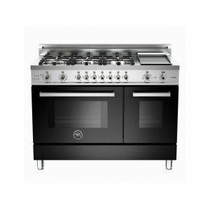 48 6-Burner + Griddle, Electric Self-Clean Double Oven Black - Black