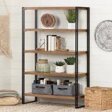 5 Fixed Shelves - Shelving Unit - Rustic Bamboo