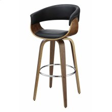 Contemporary Walnut and Black Bar Stool