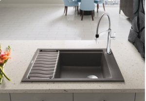 Blanco Precis Medium Single With Drainer - Metallic Gray