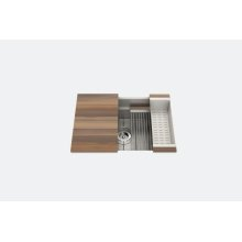 "SmartStation 005451 - undermount stainless steel Kitchen sink , 27"" × 18 1/8"" × 10"" (Walnut)"