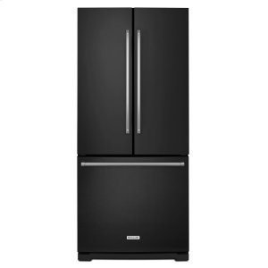 20 cu. Ft. 30-Inch Width Standard Depth French Door Refrigerator with Interior Dispense - Black - BLACK