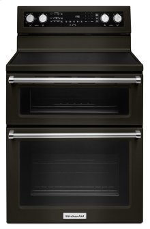 30-Inch 5 Burner Electric Double Oven Convection Range - Black Stainless