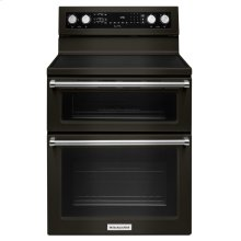 30-Inch 5 Burner Electric Double Oven Convection Range - Black Stainless Steel with PrintShield™ Finish