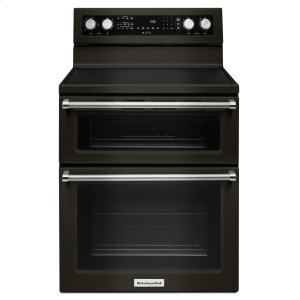 KitchenAid30-Inch 5 Burner Electric Double Oven Convection Range - Black Stainless Steel with PrintShield™ Finish