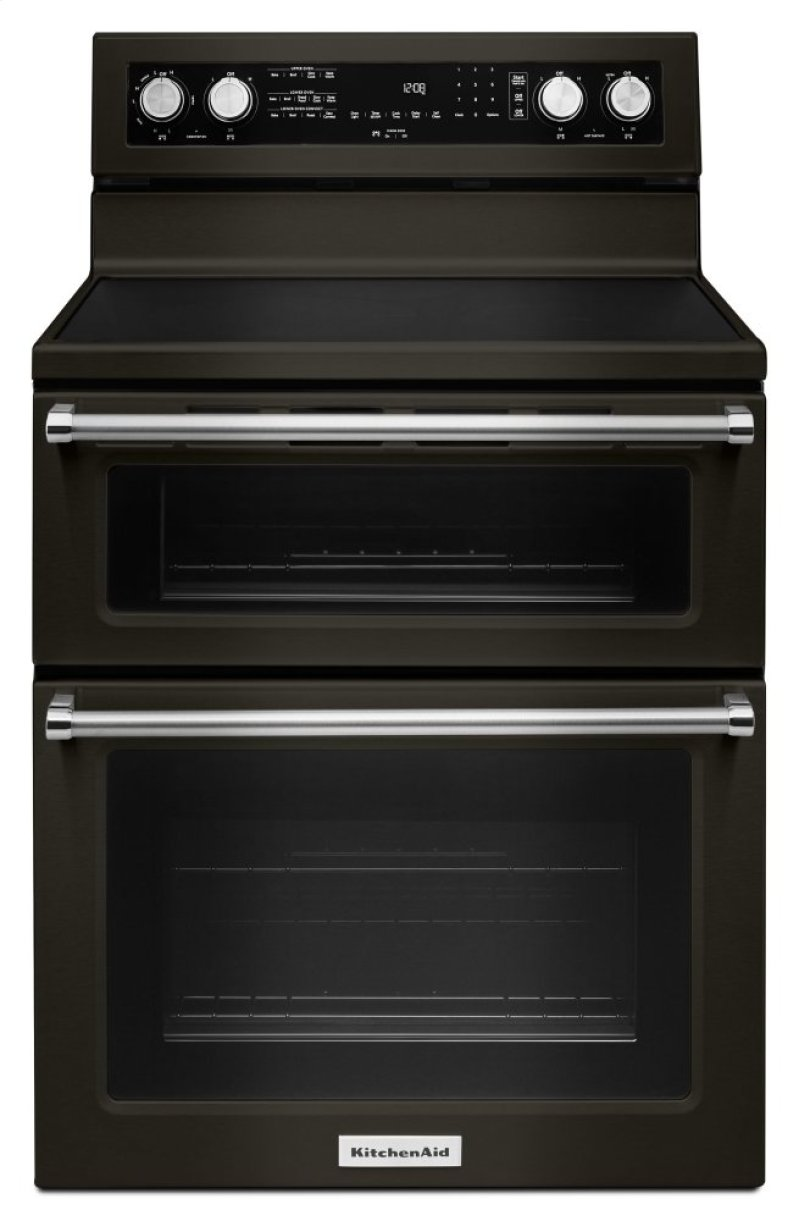 Kfed500ebs In Black Stainless Steel With Printshield Tm Finish By Kitchenaid Denver Co 30 Inch 5 Burner Electric Double Oven Convection Range