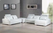 Divani Casa Phantom - Modern White Bonded Leather Sectional Sofa w Ottoman and Glass End Table