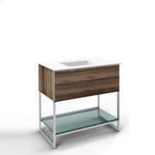 "Adorn 36-1/4"" X 34-3/4"" X 21"" Vanity In Smooth-leaved Elm With Push-to-open Plumbing Drawer, Legs In Brushed Aluminum and 37"" Stone Vanity Top In Quartz White With Integrated Center Mount Sink and 8"" Widespread Faucet Holes"