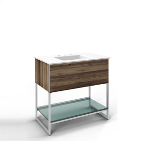 """Adorn 36-1/4"""" X 34-3/4"""" X 21"""" Vanity In Smooth-leaved Elm With Push-to-open Plumbing Drawer, Towel Bar On Right Side, Legs In Brushed Aluminum and 37"""" Stone Vanity Top In Quartz White With Integrated Center Mount Sink and 8"""" Widespread Faucet Holes"""
