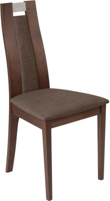 Quincy Walnut Finish Wood Dining Chair with Curved Slat Wood and Golden Honey Brown Fabric Seat