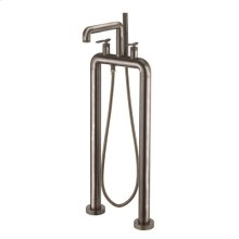 UNION Floor-mount Tub Filler with Lever Handles - Brushed Black Chrome