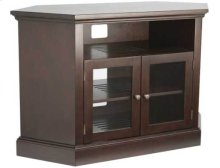 """Audio Video Stand Corner unit - fits AV components and TVs up to 52"""" - Chocolate"""