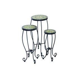 Shannon Round Plant Stands w/ Ceramic Tile Top & Iron Base - Set of 3