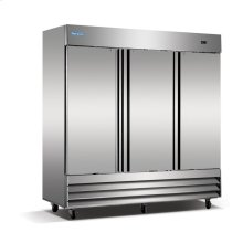 3 Solid Door Stainless Steel Reach-In Freezer