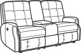Devon Leather Power Reclining Loveseat with Console and without Nailhead Trim