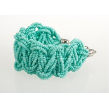 BTQ Light Teal Woven Bead Bracelet
