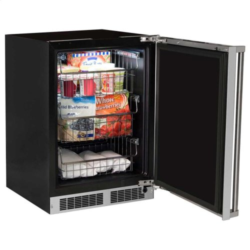 """24"""" Professional Freezer - Solid Stainless Steel Door with Lock - Right Hinge, Professional Handle"""