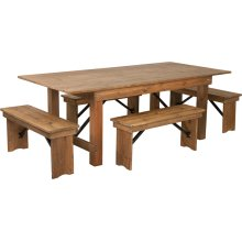 7' x 40'' Antique Rustic Folding Farm Table and Four Bench Set