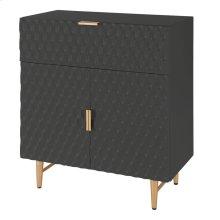 Reggie KD Geometric Small Cabinet 1 Drawer + 2 Doors Gold Legs, Glossy Black