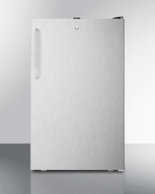 "ADA Compliant 20"" Wide Freestanding Refrigerator-freezer With A Lock, Stainless Steel Door, Towel Bar Handle and Black Cabinet"