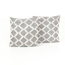 "20x20"" Size Black & Cream Diamond Pillow, Set of 2"
