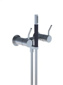 Two-handle build-in mixer with medium lever, hand shower and holder with non-return valve 1670, 2 pcs - Grey