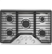 """30"""" Built-In Gas Deep Recessed Edge-to-Edge Stainless Steel Cooktop"""