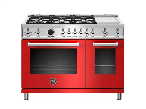 48 inch 6-Burner + Griddle, Electric Self-Clean Double Oven Red