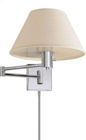 Visual Comfort 92000DPN-L Studio Classic 25 inch 75 watt Polished Nickel Swing-Arm Wall Light in Linen