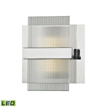 Desiree 1-Light Vanity Sconce in Polished Chrome with Clear Lined Glass - Integrated LED