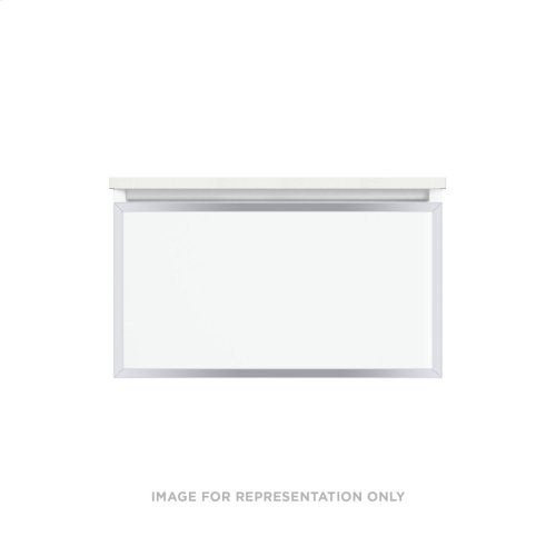 """Profiles 30-1/8"""" X 15"""" X 18-3/4"""" Framed Single Drawer Vanity In Matte White With Chrome Finish, Slow-close Plumbing Drawer and Selectable Night Light In 2700k/4000k Color Temperature"""