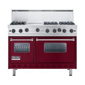 """Burgundy 48"""" Open Burner Commercial Depth Range - VGRC (48"""" wide, six burners 12"""" wide griddle/simmer plate)"""