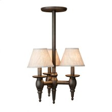 Three-Arm Towne Chandelier - C525 Bronze Dark Lustre with White