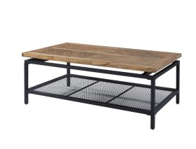 Cocktail Table-golden Oak Wood Top W/black Metal Legs & Mesh Shelf Rta