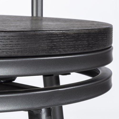 Melange Metal Back Counter Height Stool - Dark Gray Wirebrush Wood / Charcoal Gray Metal