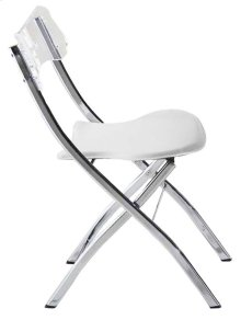 Chair Plegable White Pu Seat. Acrilic Back, Metal Chrome Base