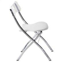 Chair Plegable White Pu Seat. Acrilic Back, Metal Chrome Base