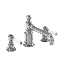 Arcade White Lever Widespread Lavatory Faucet - Polished Chrome