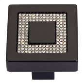 Crystal Square Inset Knob 1 3/8 Inch - Matte Black