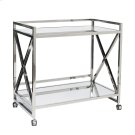 """Stainless """"x"""" Bar Cart With Two Mirrored Tops. Product Image"""