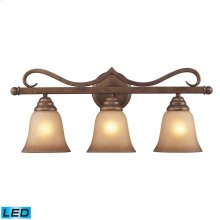 Lawrenceville 3-Light Vanity Lamp in Mocha with Antique Amber Glass - Includes LED Bulbs
