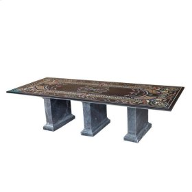 """Marble Inlay 120"""" Dining Table"""